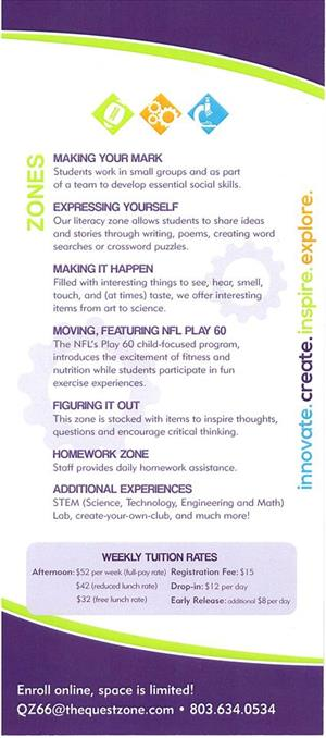 Quest Zone Flyer Page 2