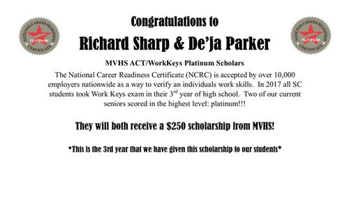 Platinum Scholars for Workkeys at MVHS