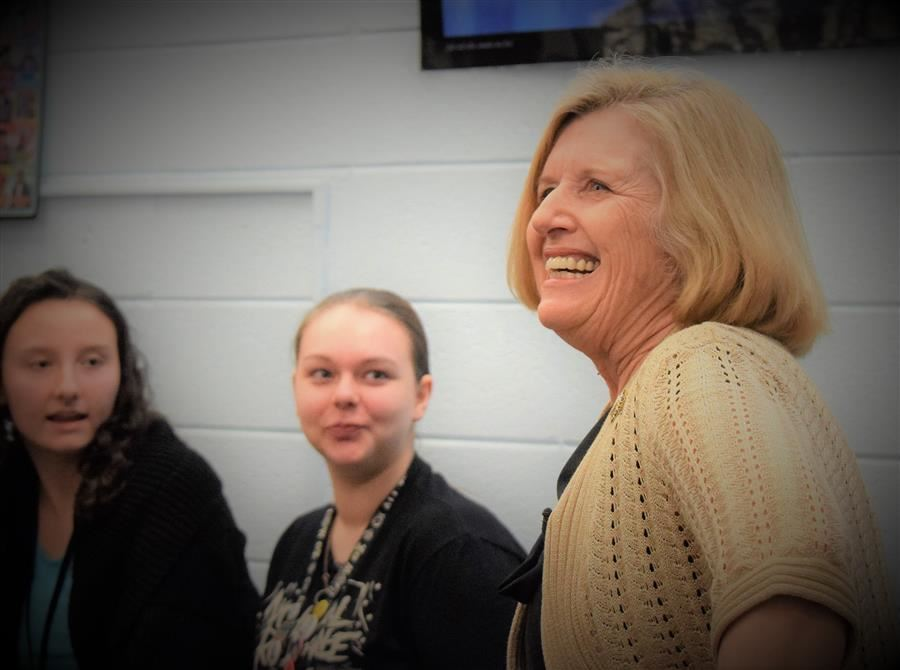 State Superintendent Molly Spearman with students