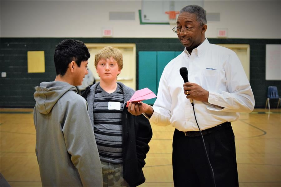 Aiken Middle School students interact with Boeing representative