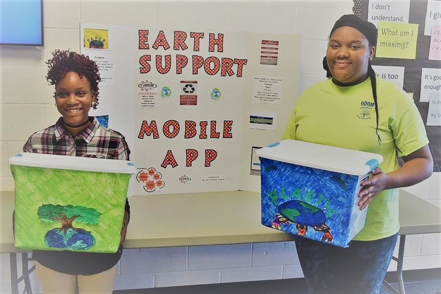 Eighth-graders Shakaren Douglas and Treasure King recently placed first among South Carolina middle