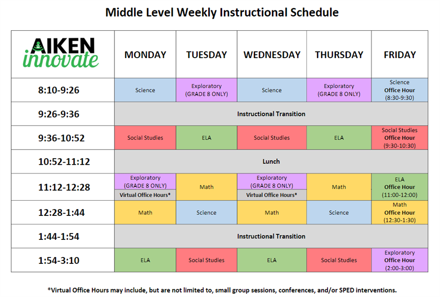 AIKEN iNNOVATE Middle Level Schedule