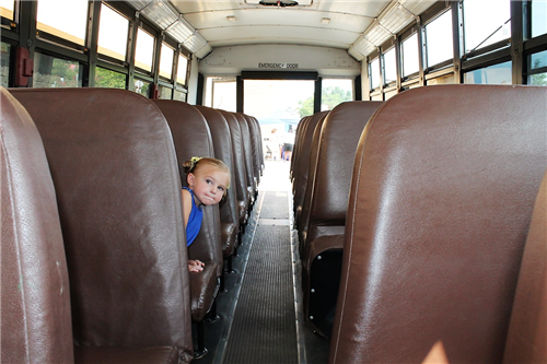 Little Girl in School Bus