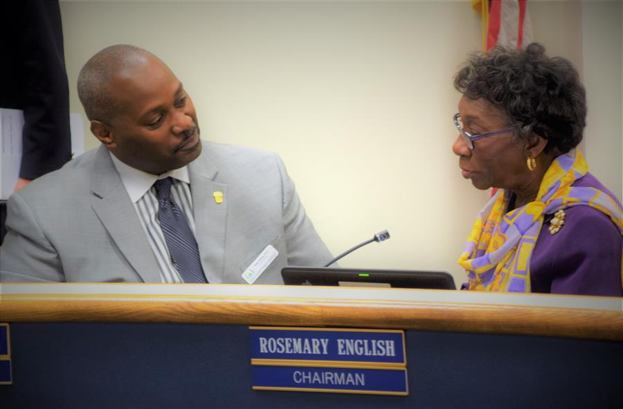 Superintendent Dr Alford speaks with Mrs. Rosemary English
